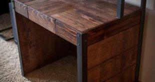 Repurposed Pallet Wood Desk, Tiered with Metal Legs