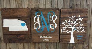 Custom Monogram wooden pallet sign- rustic sign- Custom Est sign- Personalized p...