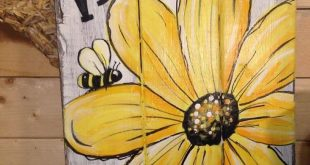 Details about WELCOME Daisy Primitive Rustic Pallet PORCH Country Handmade DOOR SUNFLOWER BEE
