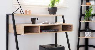 Mocka Porto Desk with Porto Corner Shelves, Copper Lamp and Small Industrial Sto...