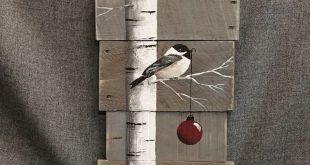Weihnachten-Malerei auf Palettenholz, weiße Birke und Rot Weihnachten Lampe, graue Scheune Holz Zeichen Art, von Hand bemalt Urlaub weiße Birke-Dekor