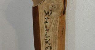 Buchstaben & Schriftzüge - Willkommen Holz Stele aus Kiefernholz, Handmade! - e...