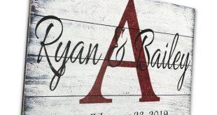 Personalized Name Sign Custom Name Sign Wedding Gift Bridal Shower Gift Wood Pallet Sign Distressed Wood Sign Monogram Established Date Sign