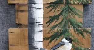 Tall White Birch and Pine tree, hand painted chickadee, Pallet wood wall art, Barn wood wall art