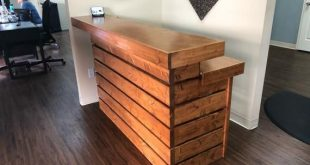 The Hello Elyse, Chestnut - Pallet style 2 level Rustic reception desk, stained and polyunrethaned