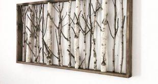 white birch forest wall art - 48 x 24, birch trees wall art, birch branch decor, large wall art, bir