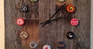 DIY Beer Bottle Cap Clock - #barideas #beer #bottle #cap #Clock #DIY