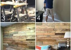 DIY tutorial for how to build a pallet wall to create a rustic + warm feeling in...