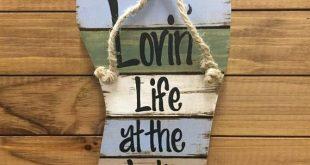 FLIP FLOP SIGN Lovin Life at the Lake in Flops Reclaimed wood Pallet Wall Beach House Ocean Summer Cutout Shaped Decor Green Blue Tan Cream