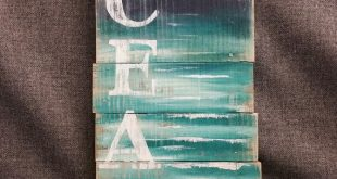 Ocean Wall Art, Pallet wall art, Beach Art, Handmade sign seascape, Cottage, upcycled, Wall art, Distressed, Shabby Chic