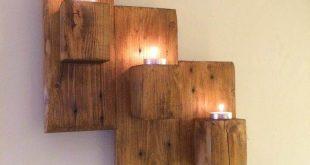 Paletten Wandmontierte Kerzenhalter
