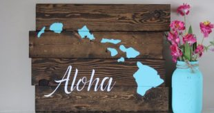 Reclaimed wood wall art - Aloha Hawaiian Island - Reclaimed pallet wood art - Pallet wood sign - Reclaimed Wood Sign - pallet art - Hawaii