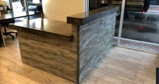 The Hello L shaped Shabby - 6.5 x 5 foot Shabby Chic Rustic Barn Wood or Pallet Style 2 level Reception desk